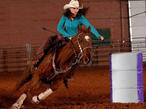 峡谷地 PRCA 牛仔竞技表演期间的纵马飞驰