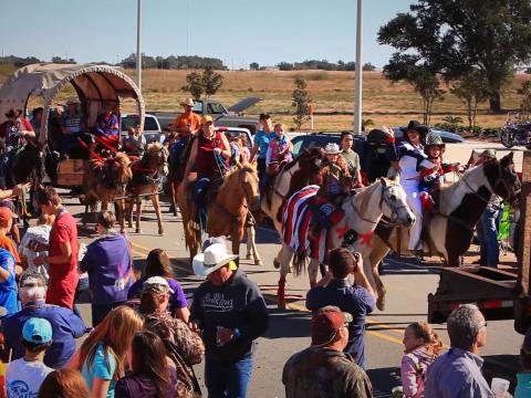 参加在卡梅隆路易斯安那州皮毛动物与野生动物节期间举办的游行